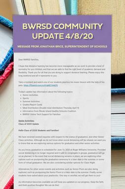 BWRSD Community Update 4/8/20