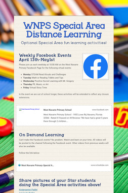 WNPS Special Area Distance Learning