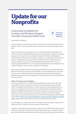 Update for our Nonprofits