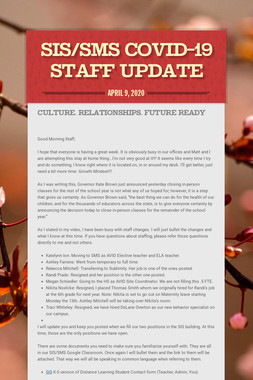 SIS/SMS COVID-19 STAFF UPDATE