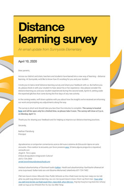 Distance learning survey