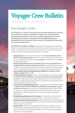 Voyager Crew Bulletin