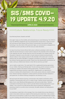 SIS/SMS COVID-19 UPDATE 4.9.20