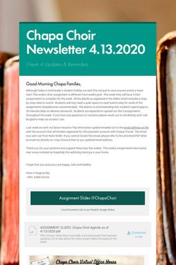 Chapa Choir Newsletter 4.13.2020