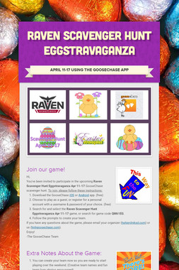 Raven Scavenger Hunt Eggstravaganza