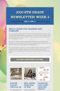 2020 8th Grade Newsletter: Week 2