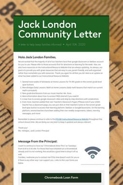 Jack London Community Letter