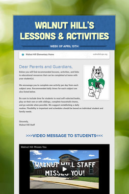 Walnut Hill's Lessons & Activities