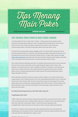Tips Menang Main Poker