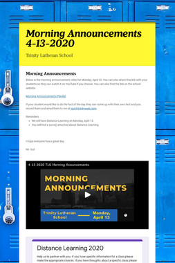 Morning Announcements 4-13-2020