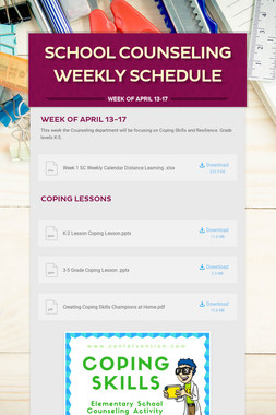 School Counseling Weekly Schedule