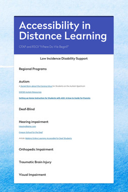 Accessibility in Distance Learning