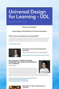 Universal Design for Learning - UDL