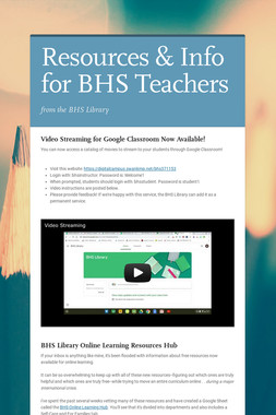 Resources & Info for BHS Teachers