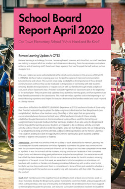 School Board Report April 2020