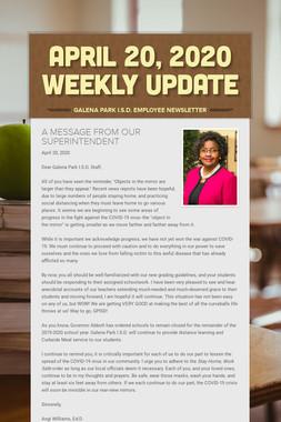 April 20, 2020    Weekly Update