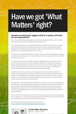 Have we got 'What Matters' right?