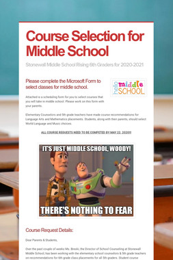 Course Selection for Middle School