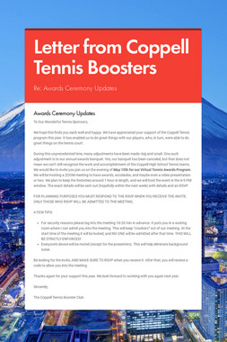 Letter from Coppell Tennis Boosters