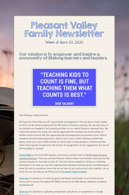 Pleasant Valley Family Newsletter
