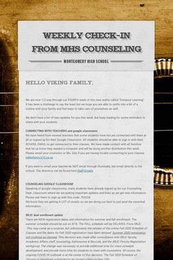 Weekly Check-in from MHS Counseling