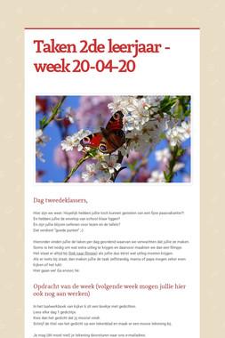 Taken 2de leerjaar - week 20-04-20