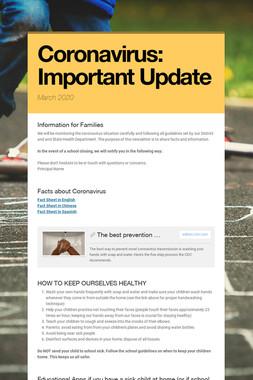 Coronavirus: Important Update