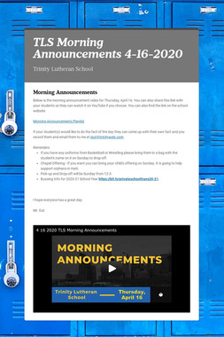 TLS Morning Announcements 4-16-2020