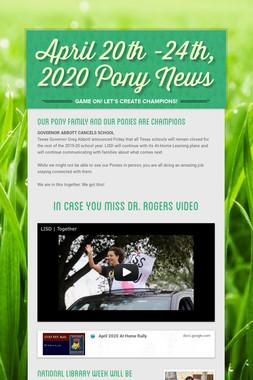 April 20th -24th, 2020 Pony News