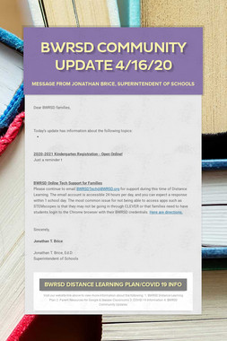 BWRSD Community Update 4/16/20