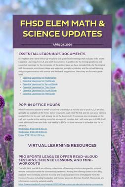 FHSD Elem Math & Science Updates