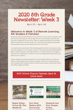 2020 8th Grade Newsletter: Week 3