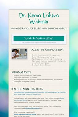Dr. Karen Erikson Webinar