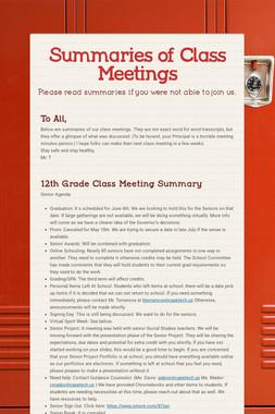 Summaries of Class Meetings