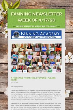 Fanning Newsletter Week of 4/17/20