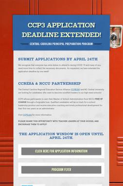 CCP3 Application Deadline Extended!