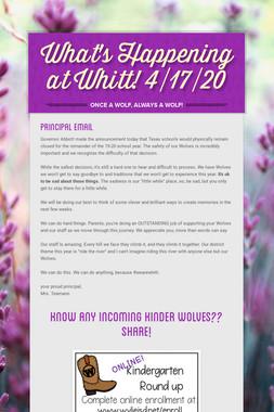 What's Happening at Whitt! 4/17/20