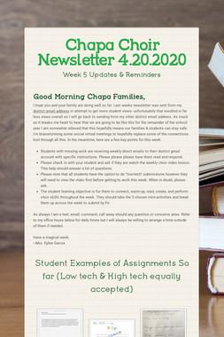 Chapa Choir Newsletter 4.20.2020