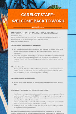 Carelot Staff- WELCOME BACK TO WORK