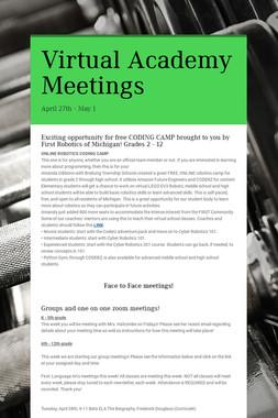 Virtual Academy Meetings
