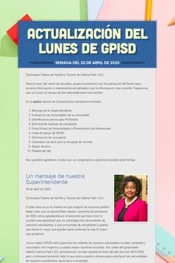 Actualización del lunes de GPISD
