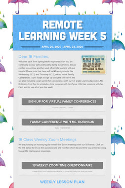 Remote Learning Week 5
