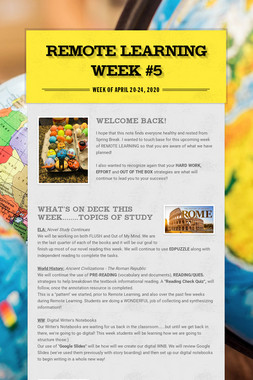 Remote Learning Week #5
