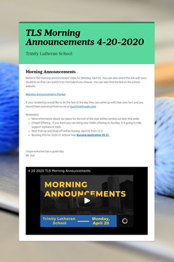 TLS Morning Announcements 4-20-2020