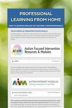 Professional Learning From Home