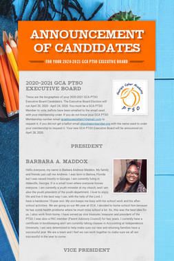 Announcement of Candidates