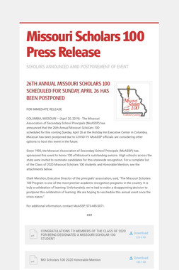 Missouri Scholars 100 Press Release