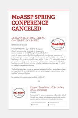 MoASSP SPRING CONFERENCE CANCELED