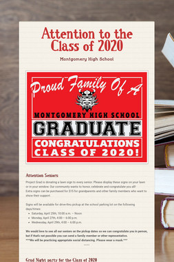Attention to the Class of 2020