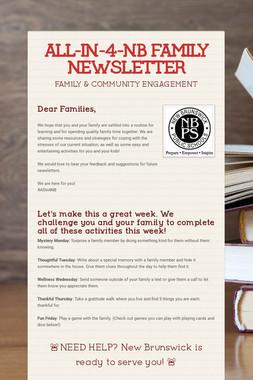 ALL-IN-4-NB FAMILY NEWSLETTER